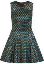Dolce & Gabbana Flared Metallic Jacquard Mini Dress - Forest green