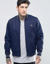 Fred Perry Bomber Jacket In Carbon Blue