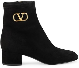 Valentino VLogo Suede Ankle Boots