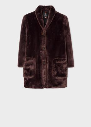 Women's Brown Faux Fur Shawl Collar Coat