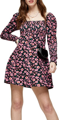 Topshop Floral Print Long Sleeve Minidress