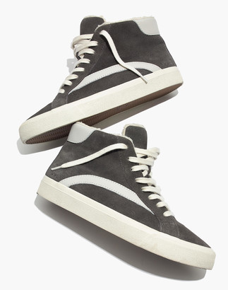 Madewell Sidewalk High-Top Sneakers in Suede and Sherpa