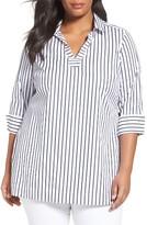 Foxcroft Plus Size Women's Nora No-Iron Stripe Tunic
