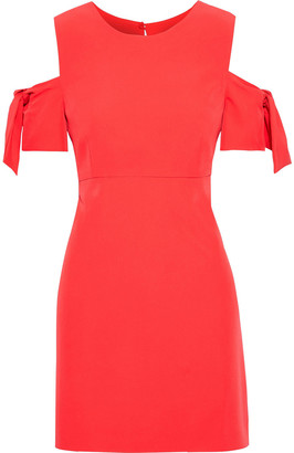 Milly Mod Cold-shoulder Knotted Stretch-crepe Mini Dress