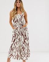 Asos Design DESIGN dungaree maxi dress with buckles in zebra print