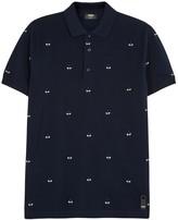 Fendi Alvr Eyes Navy Embroidered Cotton Polo Shirt