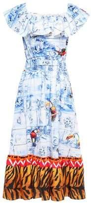 Stella Jean Ruffled Printed Cotton-bend Sateen And Satin Midi Dress