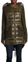 BCBGeneration Faux Fur-Accented Contrast Coat