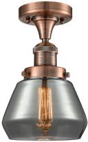"Fulton Innovations Lighting 1-Light 7"" Semi-Flush Mount, Antique Copper, Glass: Plated Smok"