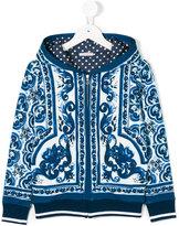 Dolce & Gabbana Majolica print zip hoodie