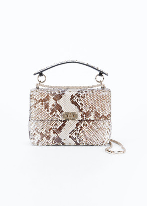 Valentino Rockstud Spike Medium Python Shoulder Bag