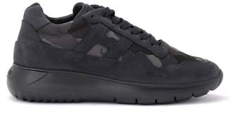Hogan Sneaker H371 Interactive Model In Blue Suede And Technical Fabric In Camouflage Print