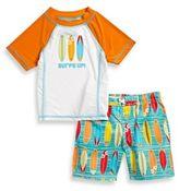 "Baby Buns 2-Piece ""Surf's Up"" Rashguard Set in Orange/Blue/White"