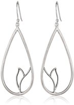 Satya Jewelry Sterling Silver Carved Lotus Earrings
