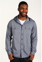 RVCA Chamber Hooded L/S Woven Shirt (Ink) - Apparel