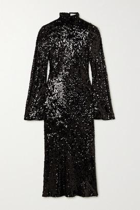 Galvan Legato Open-back Sequined Chiffon Midi Dress - Black