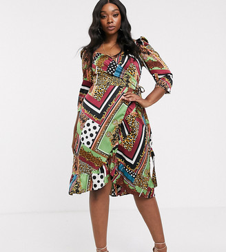 Outrageous Fortune Plus wrap front frill midi dress in scarf print