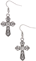 Carole Crystal & Stainless Steel Twisted Trim Cross Drop Earrings