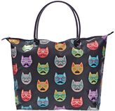 Sally Black Satin Cat Print Tote Bag