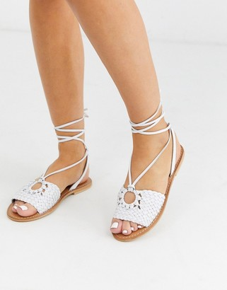 ASOS DESIGN Figtree woven leather tie leg sandal in white