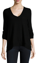 Three Dots Solid Side Split V-Neck Sweater