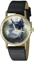 Whimsical Watches Kids' P0130066 Classic Schnauzer Black Leather And Goldtone Photo Watch