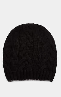 Barneys New York MEN'S CABLE-STITCHED WOOL BEANIE - BLACK