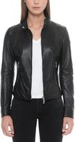 Forzieri Black Leather Women's Jacket w/Zip Pockets