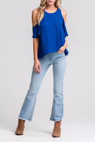 Lush Blue Cold-Shoulder Top