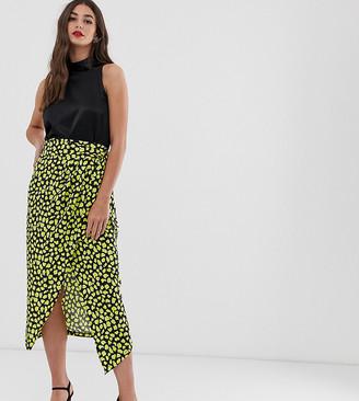 John Zack Tall frill midaxi skirt with thigh split in yellow splodge print