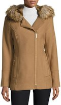 Diane von Furstenberg Faux-Fur Hooded Asymmetric-Zip Coat, Camel