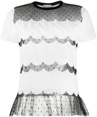 RED Valentino lace panels short-sleeved T-shirt