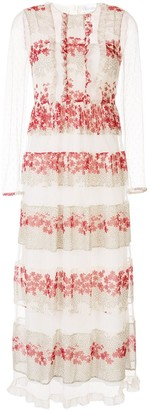RED Valentino Floral Panels Long Dress
