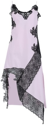 Marques Almeida Pink And Black Lace Slip Dress