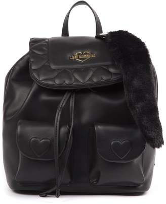 Love Moschino Mini Black Quilted Pvc Backpack With Pendant