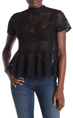 Everleigh Crochet Lace Peplem Hem Blouse (Regular & Petite)