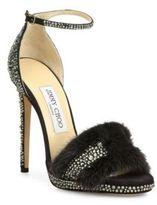 Jimmy Choo Kaylee 120 Crystal-Embellished Suede & Mink Fur Ankle-Strap Sandals