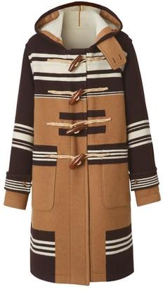 Burberry Stripe Detail Wool Duffle Coat