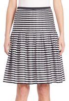 Akris Punto Striped Pleated Cotton Skirt
