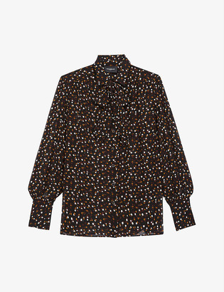 The Kooples Polka-dot crepe pussy-bow shirt