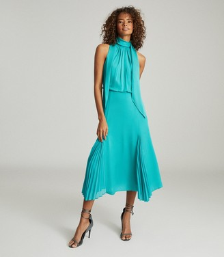 Reiss JENNA NECK-TIE DETAIL MIDI DRESS Teal