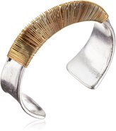 """Robert Lee Morris Metal Band"""" Wire Wrapped Sculptural Curved Cuff Bracelet"""