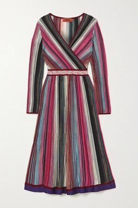 Missoni Wrap-effect Striped Crochet-knit Dress - Pink
