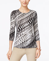 JM Collection Printed Three-Quarter-Sleeve Top, Only at Macy's