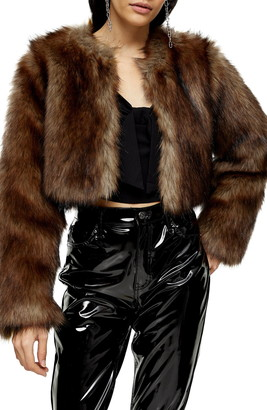 Topshop Chubby Faux Fur Crop Coat
