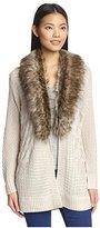 Heartloom Women's Faux Fur Trim Cardigan