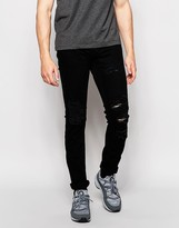 Pull&Bear Jeans In Slim Fit With Rips In Black