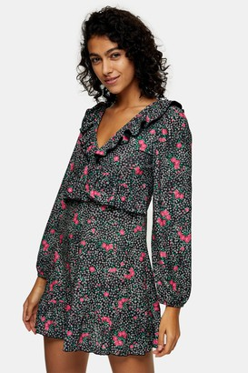 Topshop Womens Double V Jersey Tea Dress - Multi