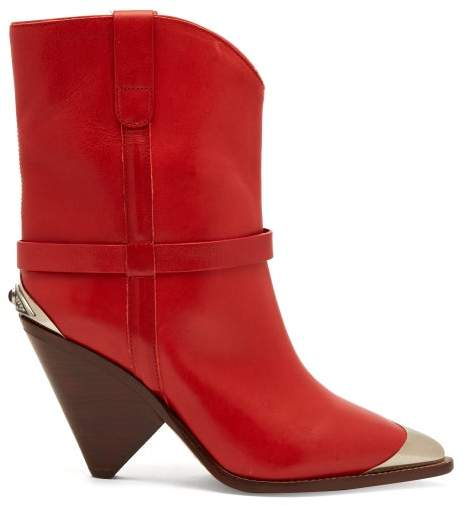Isabel Marant Lamsy Leather Boots - Womens - Red