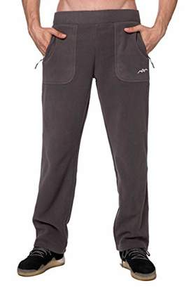 TRAILSIDE SUPPLY CO. Men's Polar Fleece Thermal Sweatpants with Zipper Pockets Heather